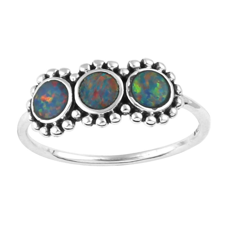 Image of Sterling Silver Triple Opal Sparkle Ring