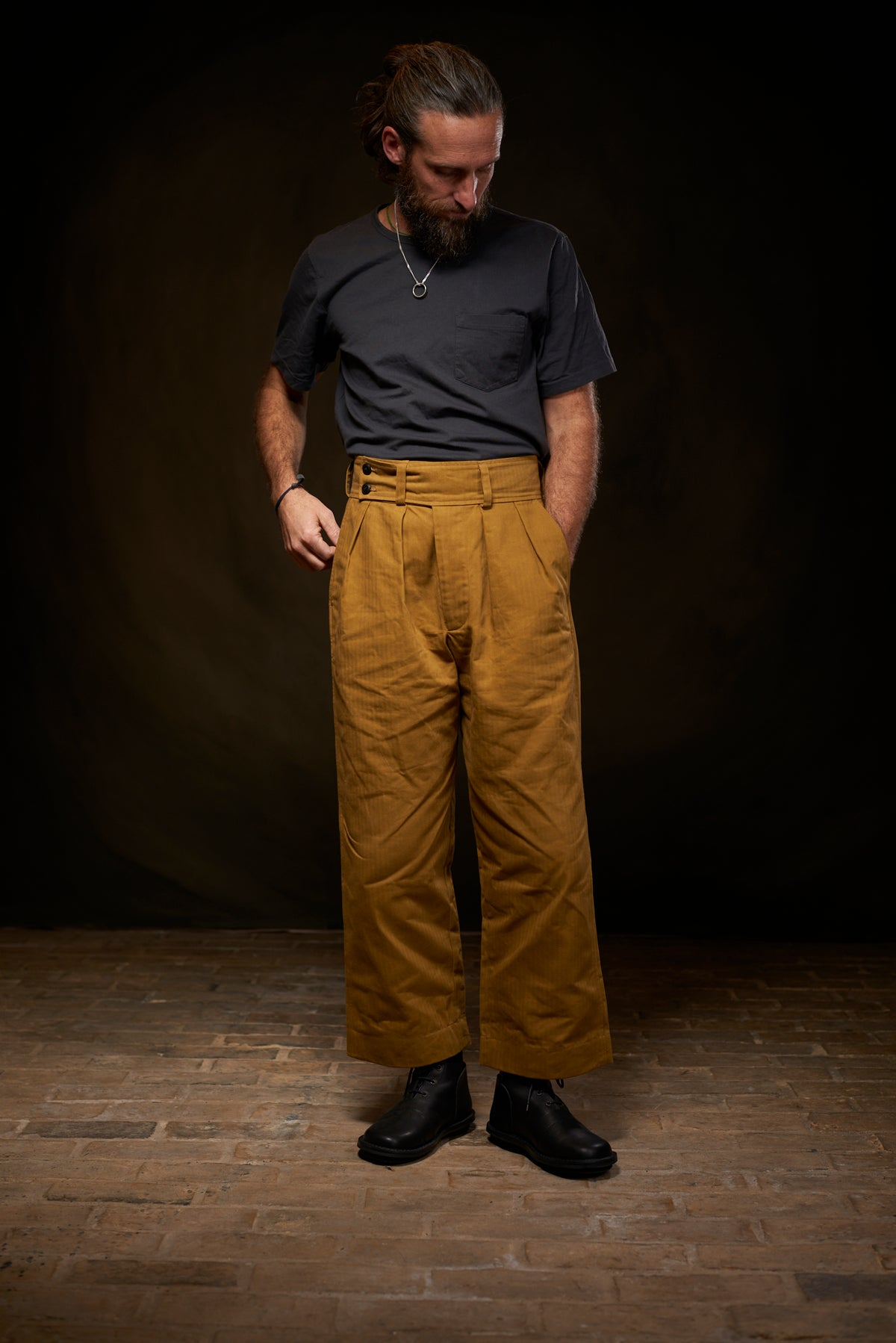 Image of Captain Trouser Herringbone - Tan £235.00