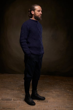 Image of Old Sailors Aran Sweater - Navy