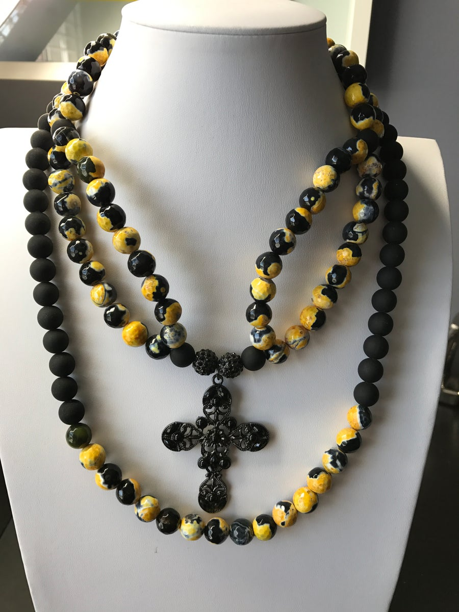 Image of Yellow & Black Agate Gemstone Multi-Cross Statement Necklace