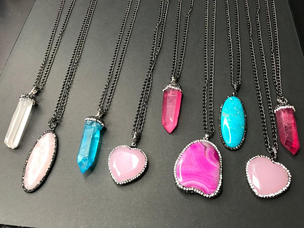 Image of Gemstone Layering Necklace (Gunmetal Tone)