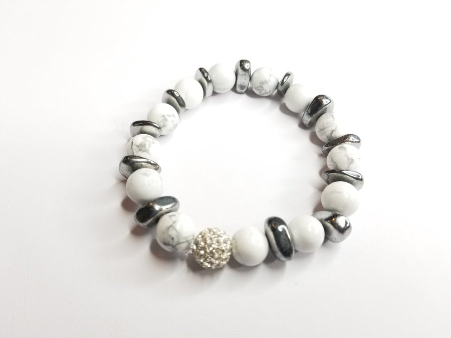 Image of Speckled Jade & Hematite Bracelet