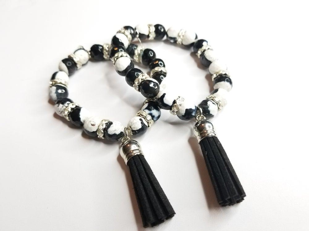 Image of Black & White Agate Tassle Bracelet