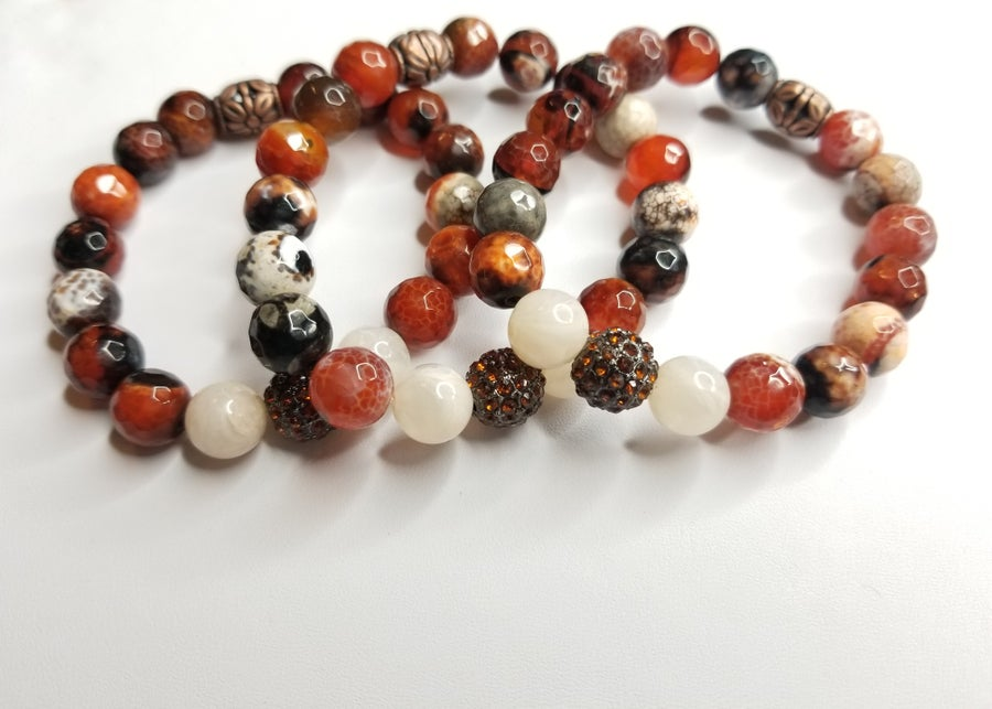 Image of Red Amber Gemstone & Rhinestone Bracelet