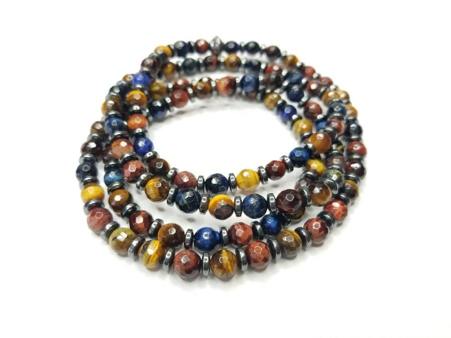 Image of Multi-Color Faceted Tiger Eye Gemstone Wrap Bracelet