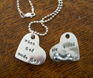 "Image of ""When God Made Dog He Smiled"" Sterling Tag"