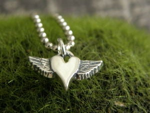 Image of Petite Winged Heart Sterling Pendant