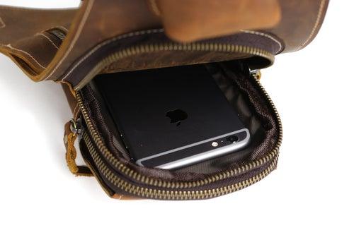 Image of Handmade Vintage Genuine Leather Messenger Bag, Shoulder Bag, Chest Bag, Waist Pack 2009