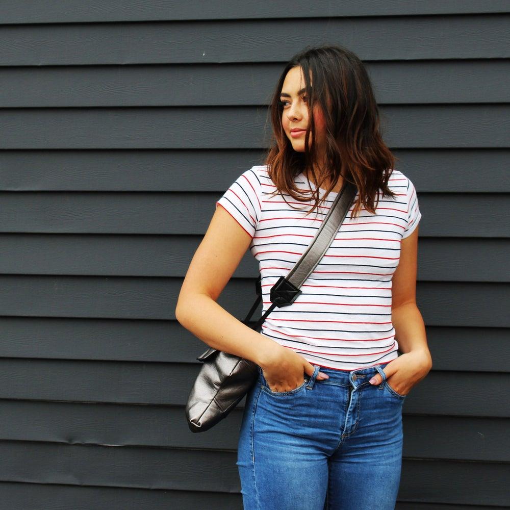 "Image of Cute Camera Bags for Women | Metallic ""Lightning"" Leatherette Camera Coat"