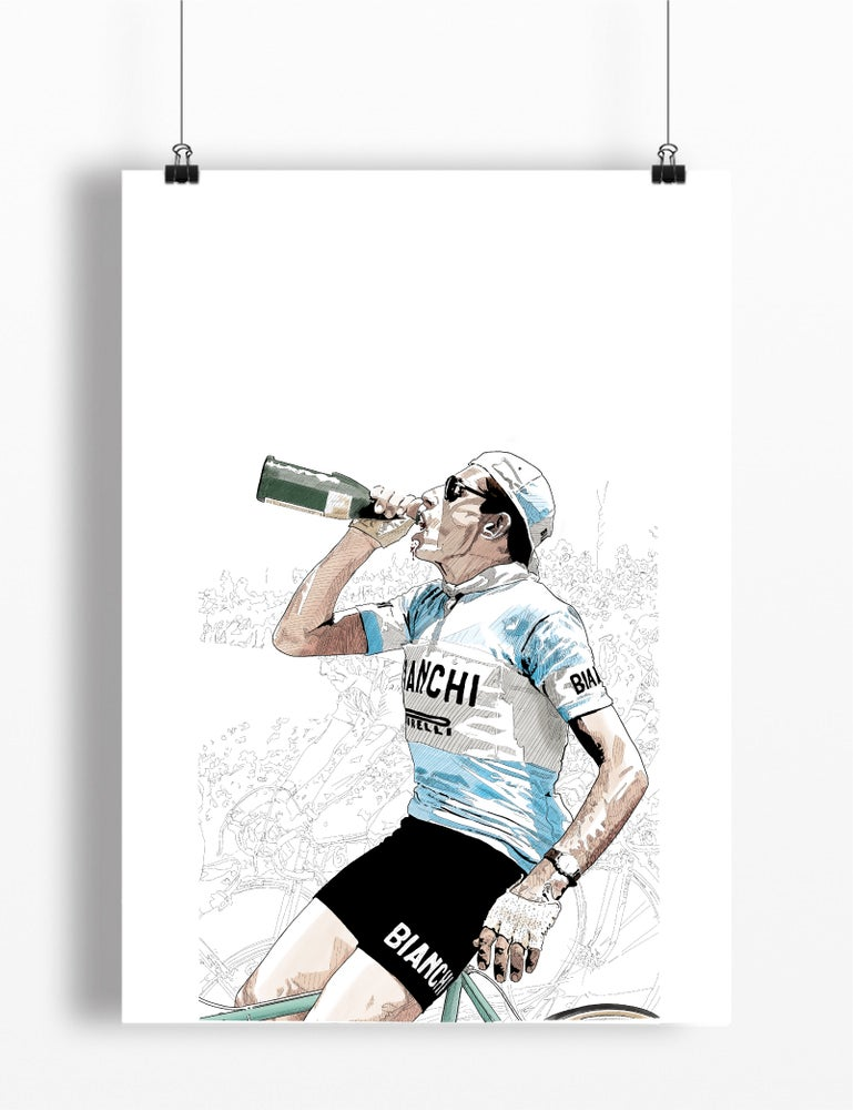 Image of Coppi celebrates print A4 - By Jason Marson