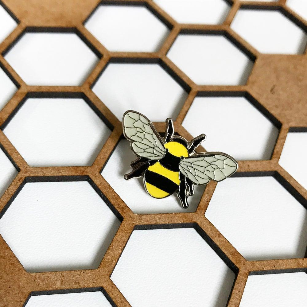 Image of Manchester Bee Beekeeper Enamel Pin Badge Brooch