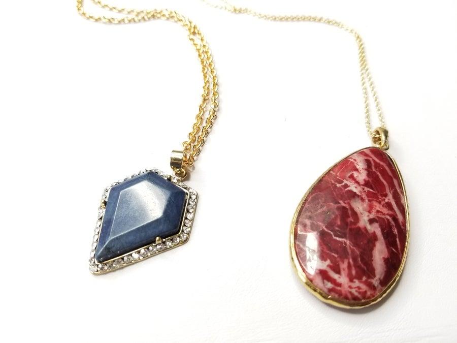 Image of Gemstone Layering Necklace (Gold Tone)