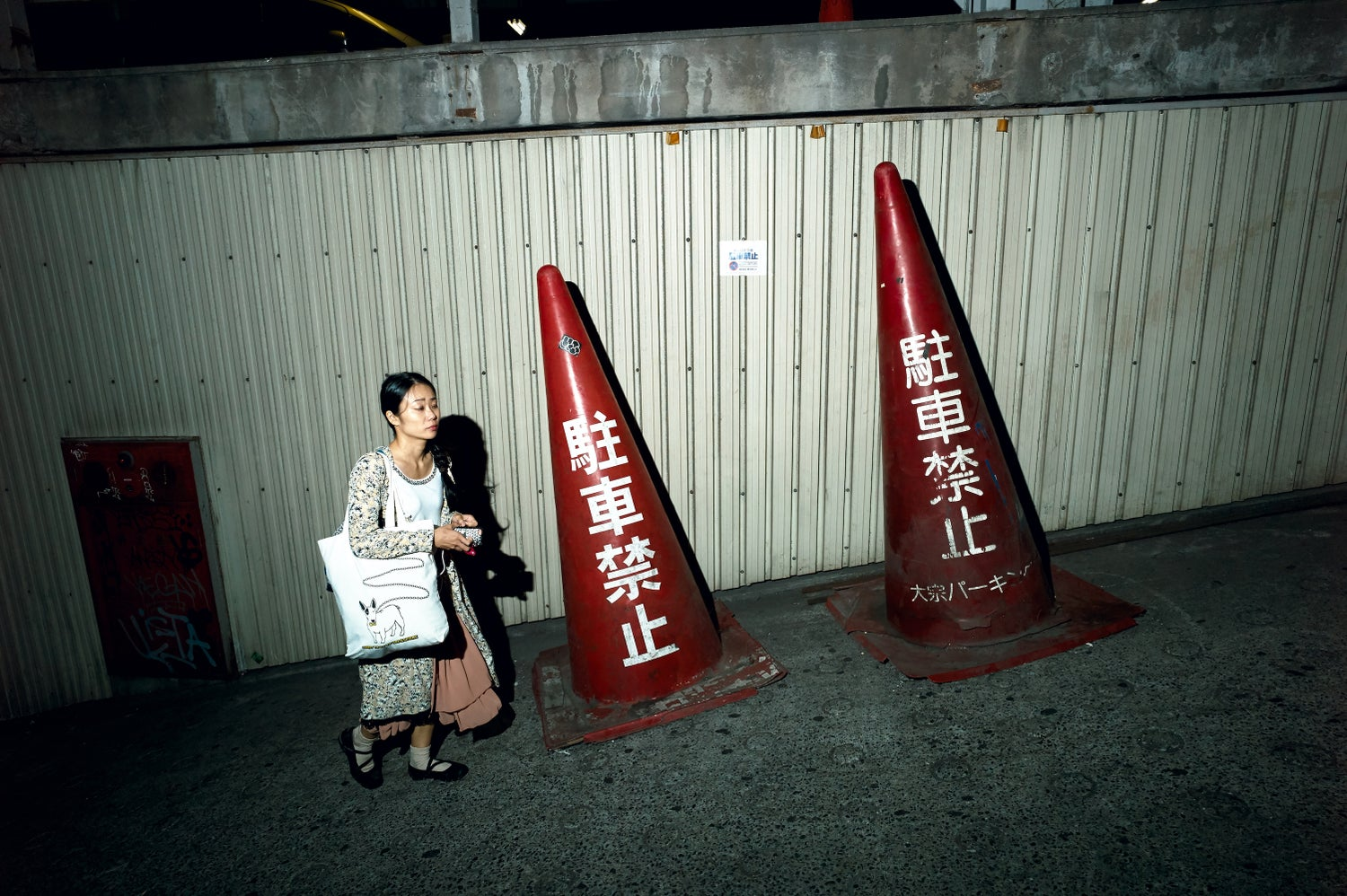 Image of Woman And Traffic Cones