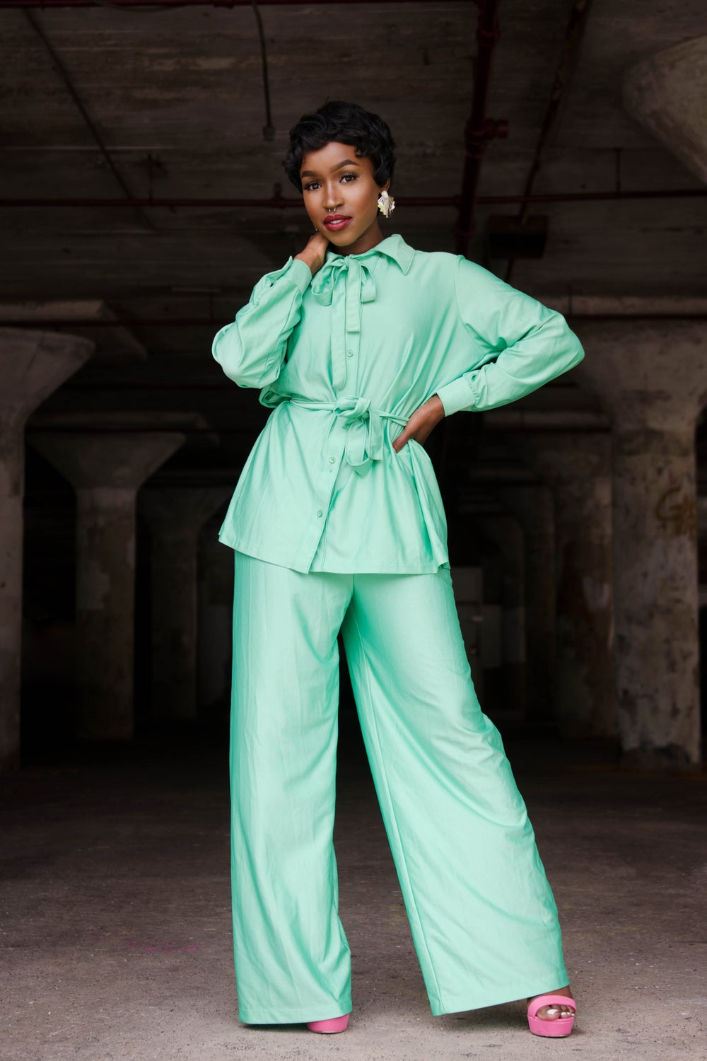 Image of Vintage Mint Dolly Pussy Bow Belted Pant Set