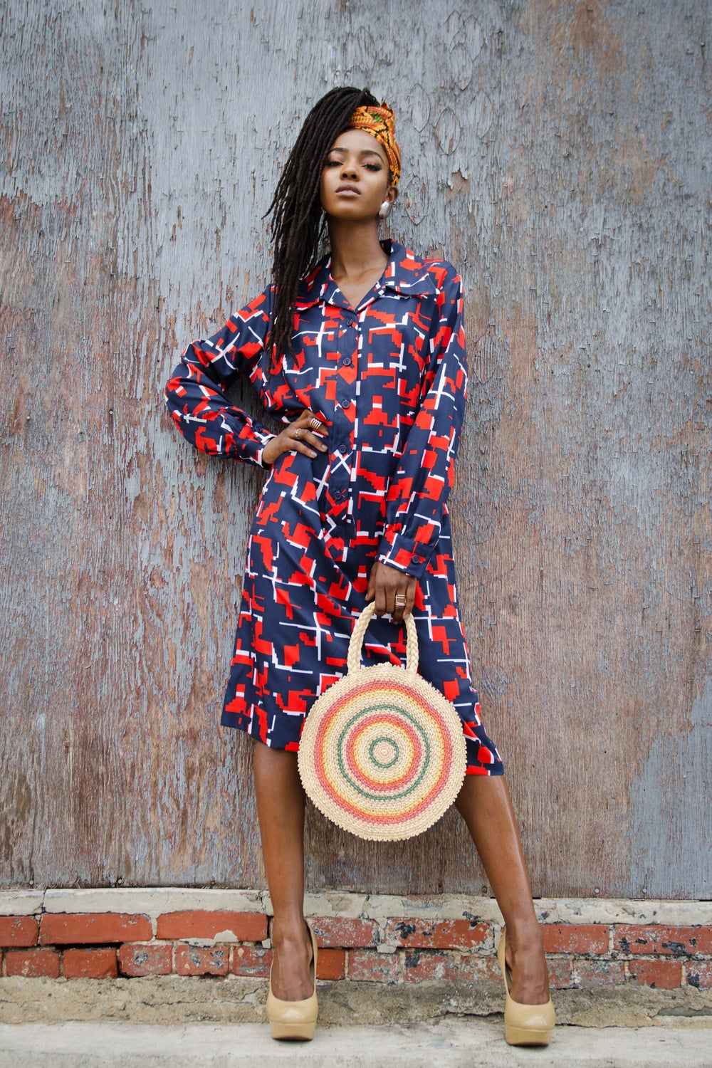 Image of Vintage Navy Abstract Print Butterfly Collar Shirt Dress