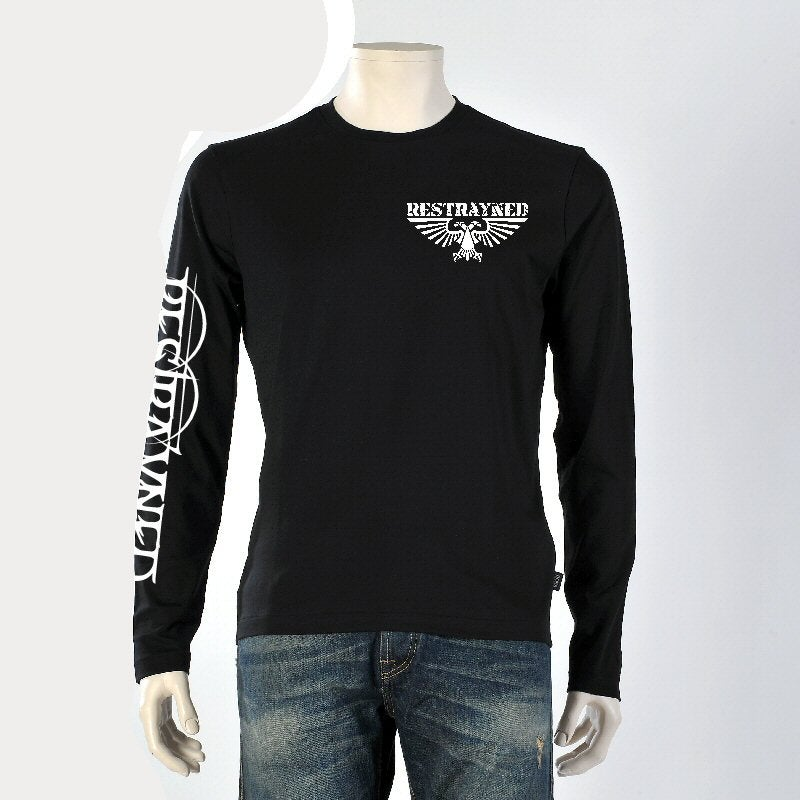 "Image of Men's Long Sleeve T-Shirt - Restrayned ""Made In USA"" Logo Skull & Wings"