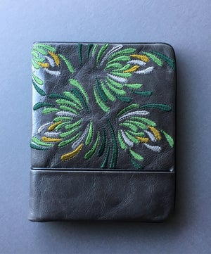 Waratah Embroidered Wallet - Greens - Belinda Pieris