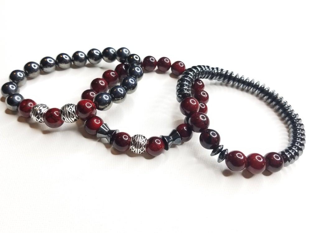 Image of Men's Red Quartz & Hematite 3 Piece Bracelet Set