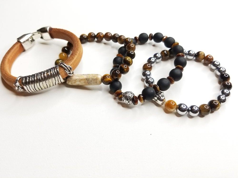 Image of Men's Tiger Eye, Hematite Gemstone  & Leather 4 Piece Bracelet Set