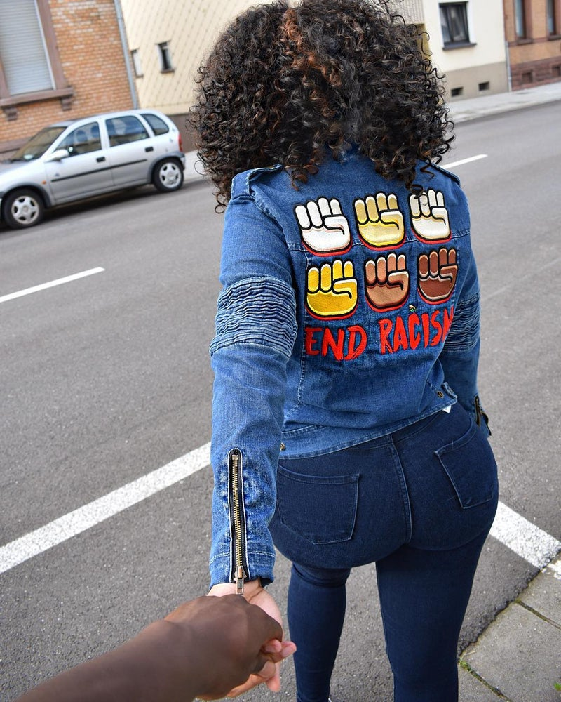 Image of End Racism Denim Motor Jacket