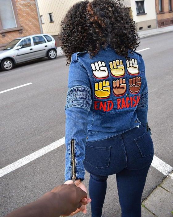 Image of End Racism Denim Motor Jacket