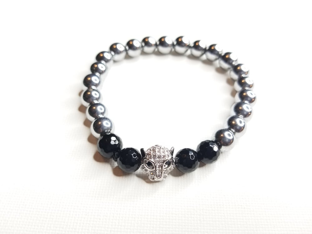 Image of Men;s Hematie & Onyx Gemstone Lion Bracelet