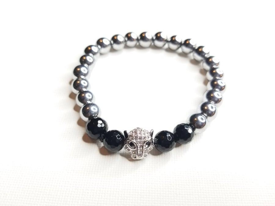 Image of Men;s Hematie & Onyx Gemstone Lion Bracelet