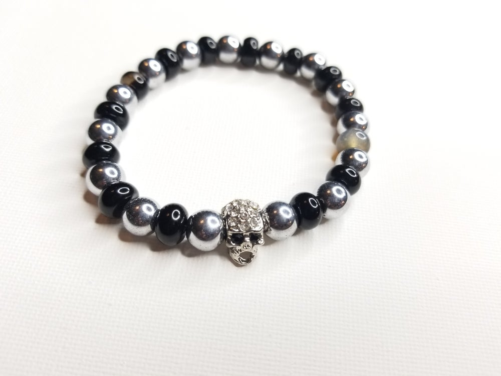 Image of Men's Hematite & Agate Rhinestone Skull Bracelet