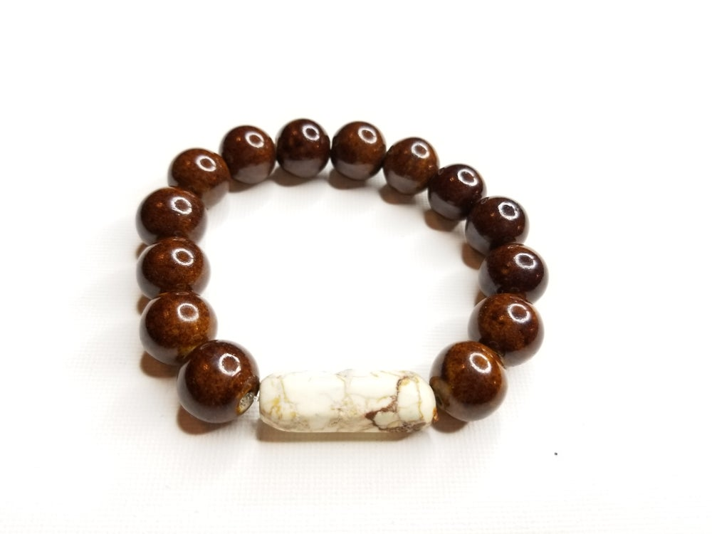 Image of Men's Ceramic & Marble Gemstone Bracelet
