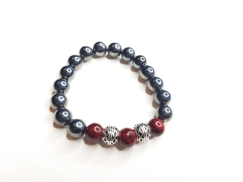 Image of Men's Rhinestone & Red Quartz Gemstone Bracelet