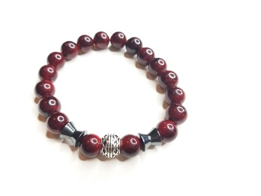 Image of Men's Red Quartz Gemstone & Hematite Accent Bracelet