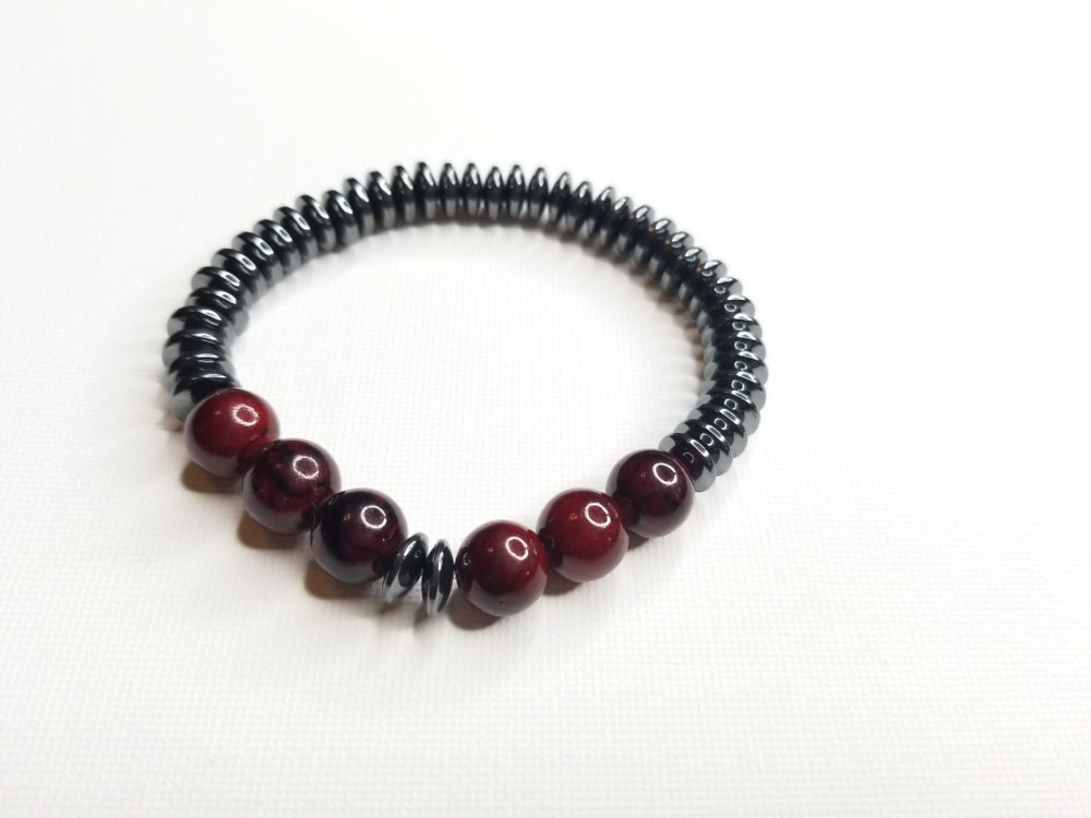 Image of Men's Hematite Rondelle & Red Quartz Gemstone Bracelet