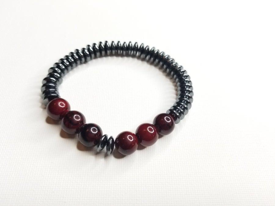 Image of Men's Hematite Rondelle & Red Quartz Gemstone Bracelet