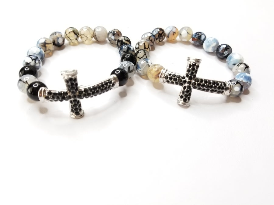 Image of Spider Agate & Rhinestone Cross Bracelet