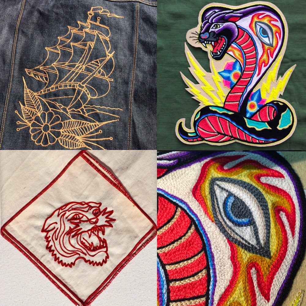 Image of Custom embroidered chain stitching
