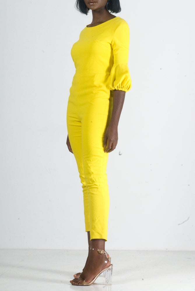 Image of Jaune Puff sleeves Jumpsuit