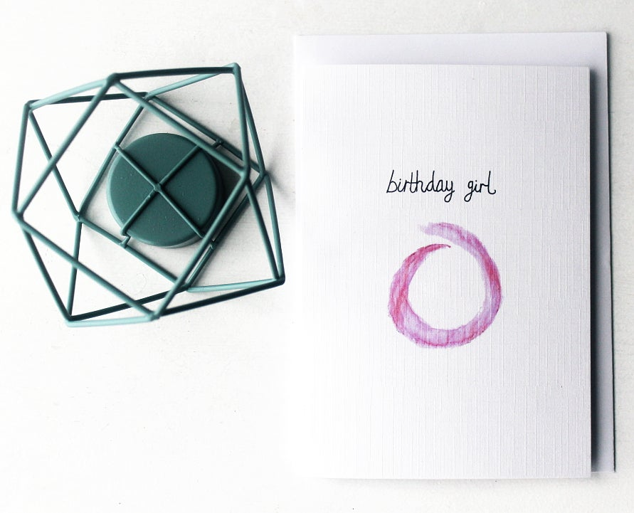Image of Birthday Girl - Linen Textured Greeting Card