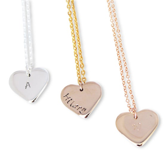 Image of Personalised 9K Gold love heart necklace