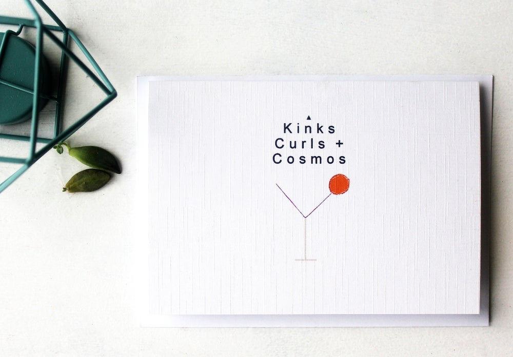 Image of Kinks Curls and Cosmos - Linen Textured Greeting Card