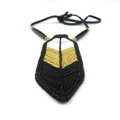 Image of Miigwan Beaded Pendant (Golden)
