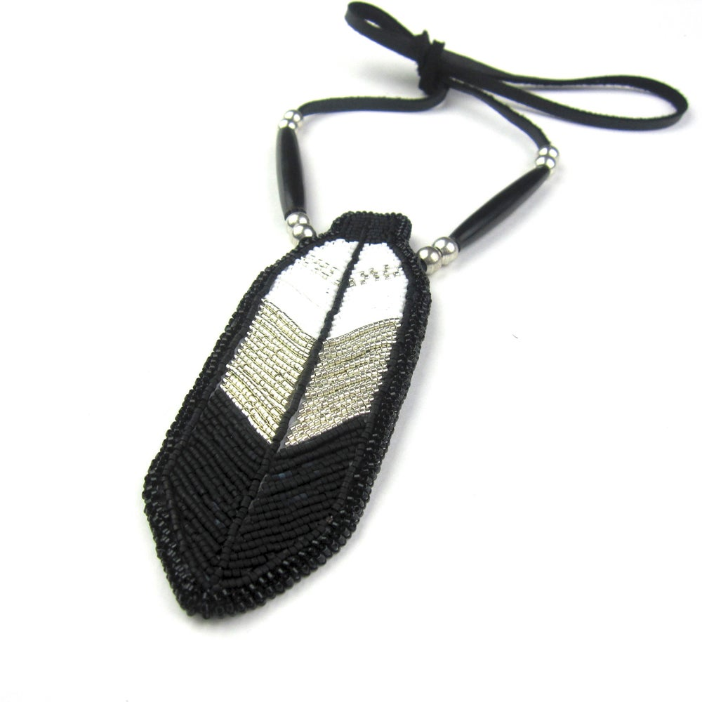 Image of Miigwan Beaded Pendant (Chrome)