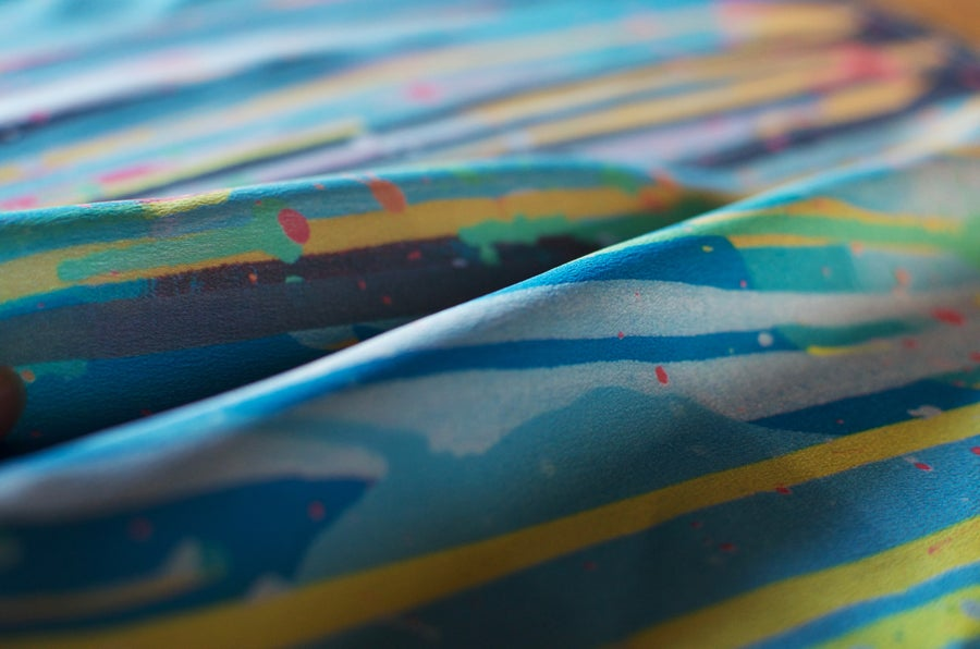 Image of 'Rainbow Rain' Silk Pocket Square
