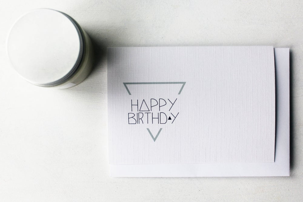 Image of Happy Birthday Triangle - Linen Textured Greeting Card
