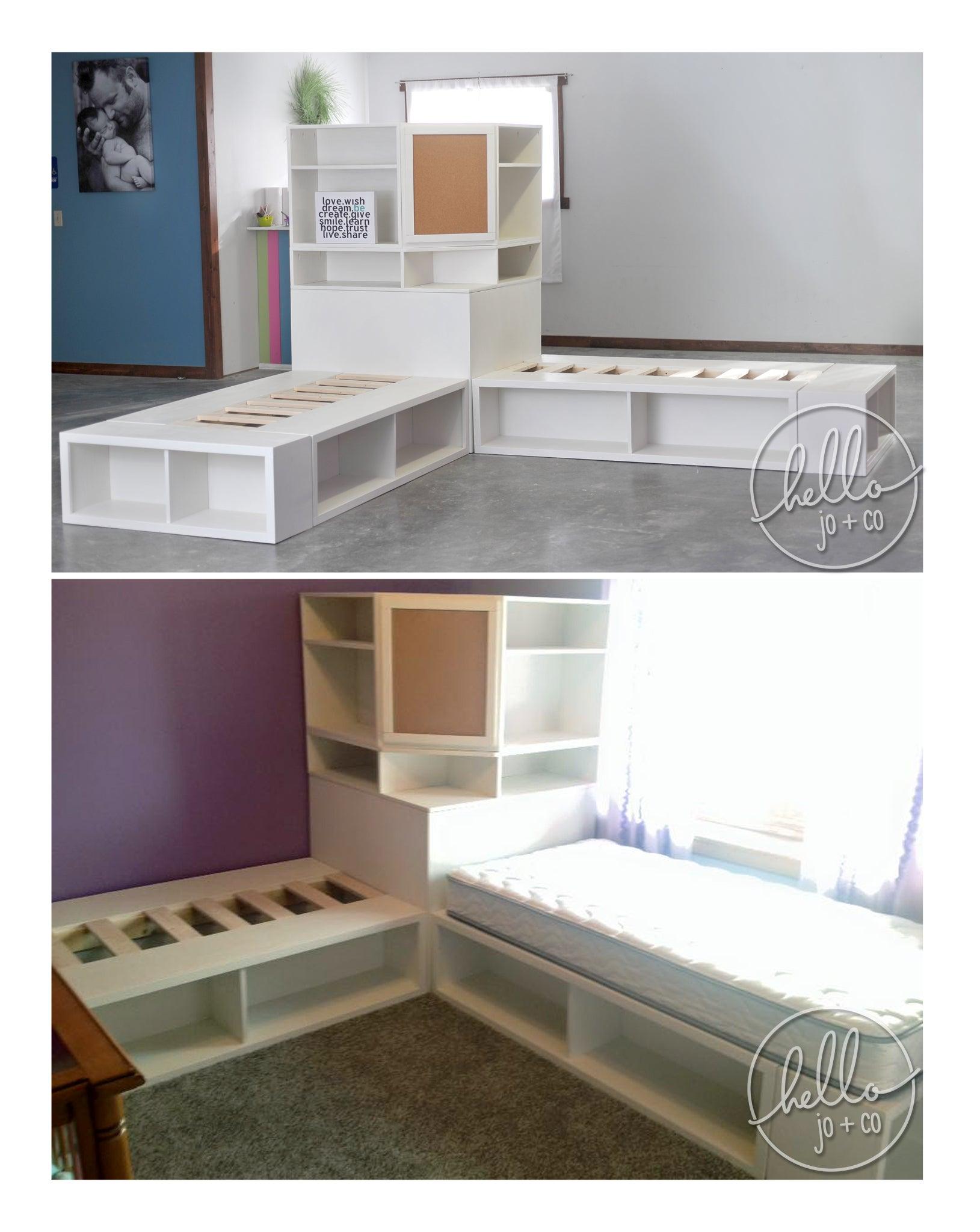 Hello Jo Co Storage Bed With Corner Hutch