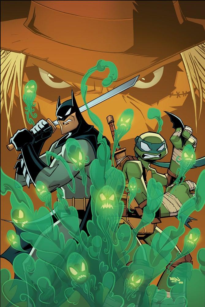 Image of Batman and Leo VS Scarecrow A3 Print