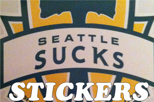 Image of Seattle Sucks Thorny Axe Sticker