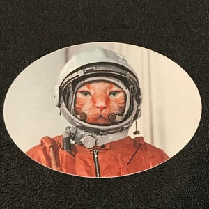 """Image of Catstronaut Ming 4"""" x 2.5"""" Oval"""
