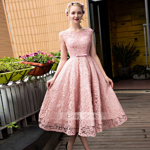 Image of Blush Pink Lace Illusion A-line Mid-Calf Waistband Prom Dress With Lace Up Back