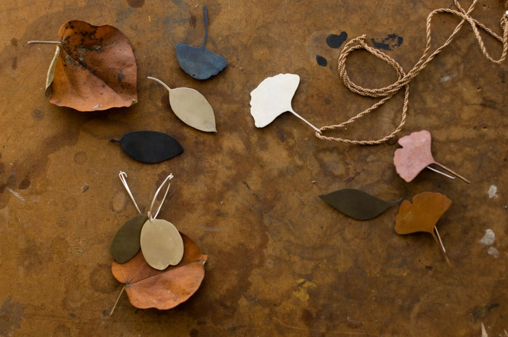 Image of Copper ginkgo leaf pendant