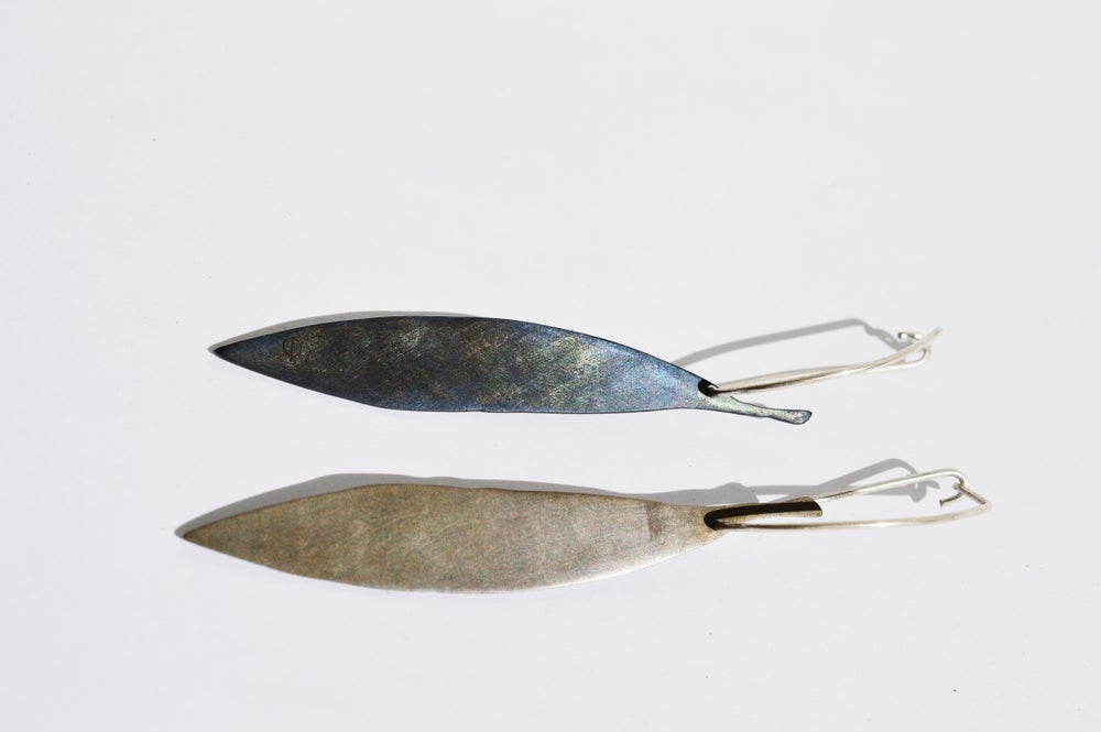 Image of Bicolour melaleuca leaf earrings